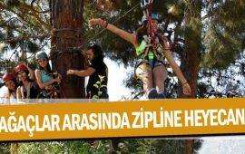 Ağaçlar arasında zipline heyecanı